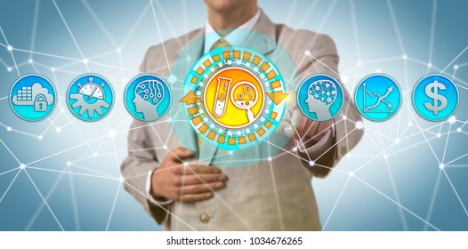 Unrecognizable pharmaceutical executive is evaluating speed to market of the drug discovery process aided by AI. Pharma industry concept for artificial intelligence and discovering novel medicines.