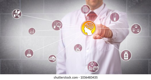 Unrecognizable pharmaceutical research scientist initiating artificial intelligence. Concept for AI driven solution, AI-based application, optimization of the drug discovery and development process.