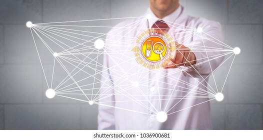 Unrecognizable pharmaceutical scientist is pushing a drug discovery button in a virtual computing network. Pharma industry and information technology concept for computer-aided drug research.