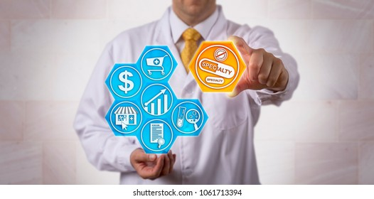 Unrecognizable pharmacist is presenting specialty drugs to the online pharmacy marketplace. Pharmaceutical and retail concept for the growing market of high-cost, breakthrough, premium medication.