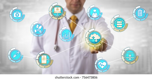 Unrecognizable physician activating cloud computing data transfer in mobile network. Health care and information technology concept for mobility, cloud access, virtualization security and privacy.
