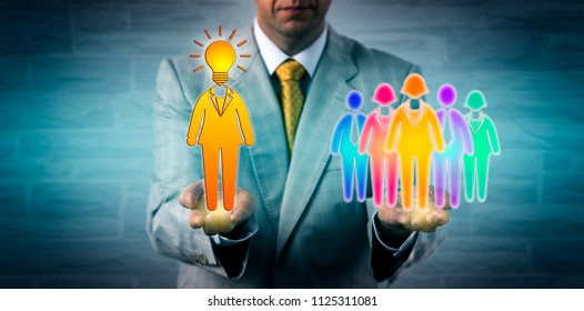 Unrecognizable recruiter presenting a bright female entrepreneur as team leader to a multi cultural workforce. Human resources metaphor for leadership, entrepreneurship, motivation, HRM, initiative.