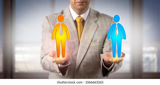Unrecognizable recruitment agent is comparing two male candidate icons in the open palms of his hands held on same level. HR concept for equal opportunity, cultural diversity, succession planning.