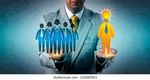 Unrecognizable recruitment manager hiring a bright team leader for his workforce. Business concept for entrepreneurship, leadership, HRM, human resources management, brains, outstanding talent.