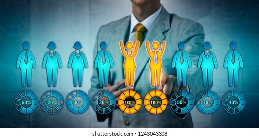Unrecognizable recruitment professional selecting one male and one female candidate performing at one hundred per cent. Business concept for gender equality, talent acquisition, performance review.