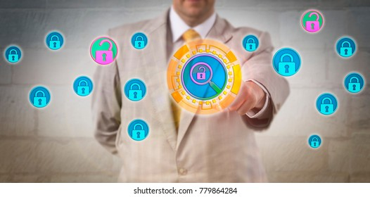 Unrecognizable security manager is performing a vulnerability scan on a database. Computing metaphor and business concept for threat assessment, disaster management and information assurance.