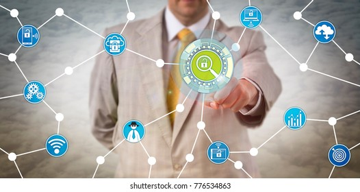 Unrecognizable security manager is touching a virtual investigative tool. Cybersecurity concept for penetration test, proactive cyber defense, fraud prevention, incident response and investigation.