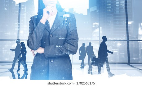 Unrecognizable thoughtful businesswoman and her colleagues walking in panoramic office with double exposure of blurry cityscape. Concept of leadership. Toned image
