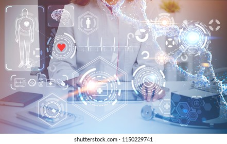 Unrecognizable woman doctor sitting in her office. A glowing immersive interface with medical icons in the foreground. Concept of the future of medicine. Toned image double exposure