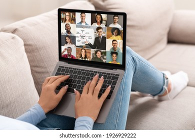 Unrecognizable Woman With Laptop On Couch Having Web Conference With Multiracial Colleagues, Discussing Business Strategy And Working Plan Through Video Call On Computer, Creative Collage