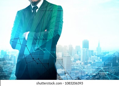 Unrecognizable young businessman standing on abstract city background with forex chart and copy space. Stock and investment concept. Double exposure