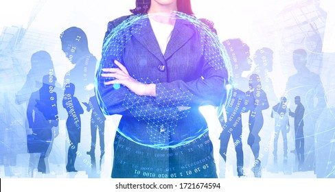 Unrecognizable young businesswoman and her diverse team working together in abstract city with double exposure of internet interface. Concept of leadership and communication. Toned image