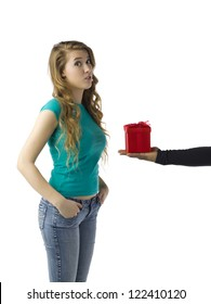 Unrecognized human hand offering gift to a woman isolated on white background