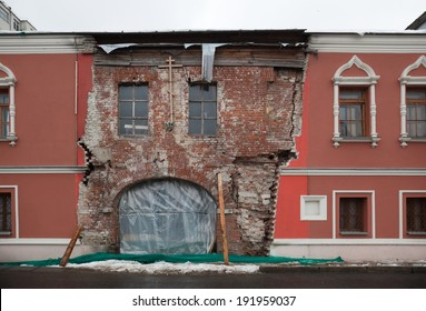 Unrestored part of the house in central Moscow. Russia.