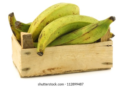 unripe baking bananas (plantain bananas) in a wooden crate on a white background