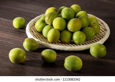 Unripe Japanese apricot