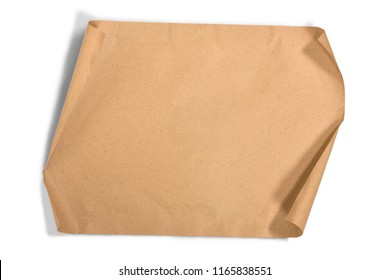 Unroll piece brown paper isolated over white background