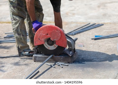 unsafe workers not used the glove, glass safety and safety shoes in time when they work on place, he cut the iron lins by roter is dangerous time work