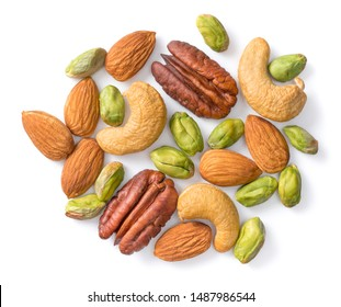 unsalted mixed nuts isolated on white background, top view