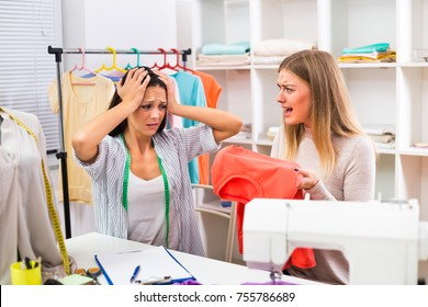 Unsatisfied customer is screaming on her seamstress.