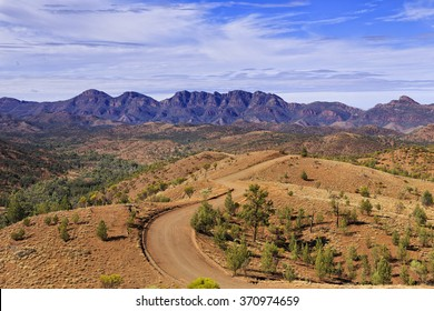 Unsealed ground 4wd road going towards Wilpena Pound of Flinders Ranges mountains of National Park in South Australia