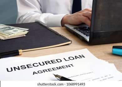 Unsecured loan form in the office.