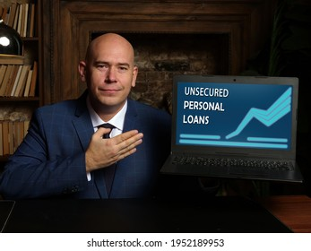 UNSECURED PERSONAL LOANS phrase on the screen. Modern Banker use internet technologies at office. Concept search and UNSECURED PERSONAL LOANS .  - Shutterstock ID 1952189953