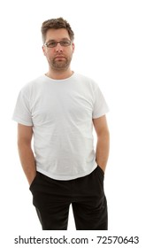 Unshaved man looking into camera over white background