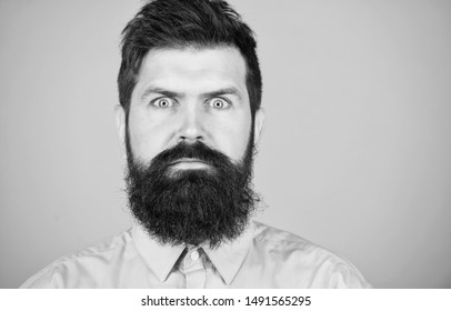 Unshaven and handsome. Caucasian hipster. Bearded man with fashion haircut. Brutal man with long beard hair and mustache. Growing a hipster beard. Barber salon or barbershop, copy space.