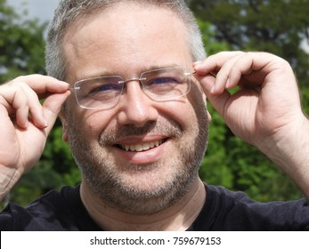 Unshaven Male Wearing Eyeglasses