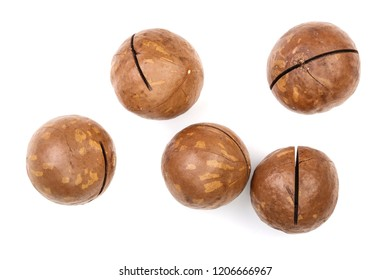 unshelled macadamia nuts isolated on white background. Top view. Flat lay pattern