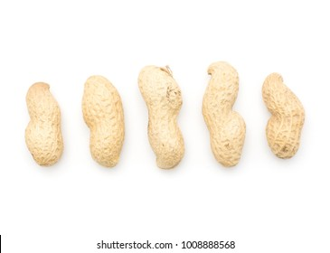 Unshelled peanuts pattern top view isolated on white background five raw