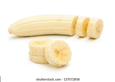 unskin banana slices with clipping path, horizontal composition
