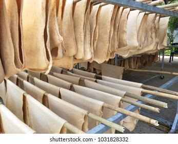 Unsmoked Rubber sheets hang on wooden line. Preparation for transform to Rubber smoked sheets