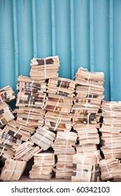 Unsold copies newspaper stack in the backyard
