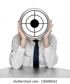 Unsuccessful manager (politician, boss, worker, etc) with shooting target. Funny picture from the office.