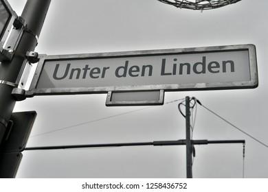 Unter der Linden (Under the Linden Trees) street sign in Berlin, Germany.