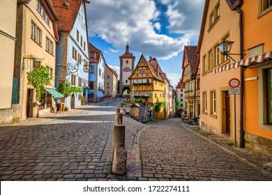 Untere Schmiedgasse street at the old town of Rothenburg ob der Tauber.  Bavaria, Germany