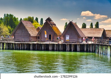 Unteruhldingen,Germany-12.July.2020:Pfahlbauten, Unteruhldingen, Reconstructed neolithic lake dwelling on the shore of lake constance locally known as Bodensee