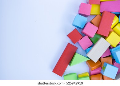 Untidy variety colorful  blocks with copy space