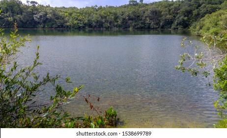 Untouched natural lake in Brazilian tropical landscape