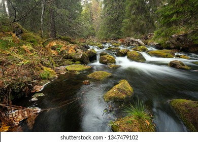 Untouched river in the northern of dalarna, sweden photographed with long exposure