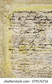 Untranslatable writing on ancient parchment