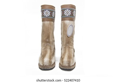 Unty - traditional footwear of the peoples of the far North on a white background.