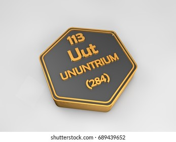 ununtrium - Uut - chemical element periodic table hexagonal shape 3d render