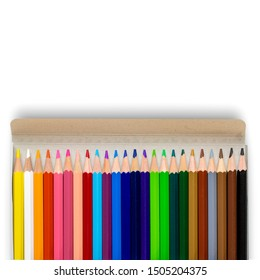 Unused color pencils in cardboard box, isolated on white background. Copy space for text.