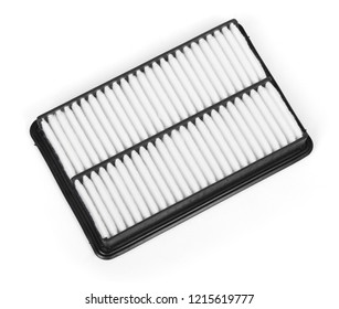 Unused flat engine air filter in a plastic case isolated on white background