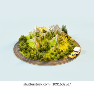Unusual 3d illustration of a mount with the road around. Travel and vacation concept.