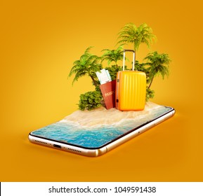 Unusual 3d illustration of a tropical island with palm trees, suitcase and passport on a smartphone screen. Travel and vacation concept