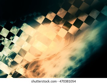 Unusual abstract background, stylized similar to the checkered flag. With beautiful reflections of light. For the design in racing cars, competition, rally, speed, championship.